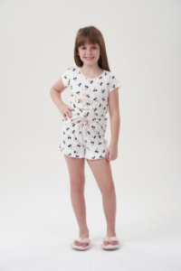 Shortdoll Infantil Manga Curta Off-White Cerejas Pretas