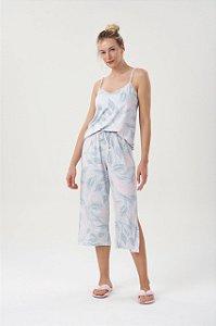Pijama Feminino Adulto Alça com Calça Pantacourt Floral