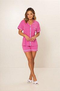 Pijama Camisaria Manga Curta com Abertura Frontal Pink Bolinha Branca
