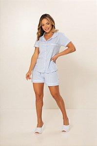 Pijama Camisaria Manga Curta com Abertura Frontal Azul Branco Listrado