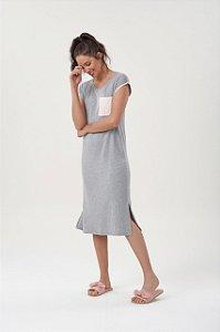 Vestido (camisola) Midi Manga Curta Mescla com Bolso