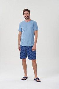 Pijama Masculino Adulto e Teen Curto Azul com Bermuda Marinho Abacaxis