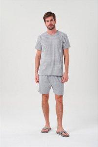Pijama Masculino Adulto Curto Mescla Listrado decote V