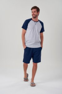 Pijama Masculino Adulto e Teen Curto Mescla com Mangas e Bermuda Marinho