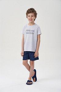 Pijama Menino Curto Mescla com Bermuda Azul Bicicletas