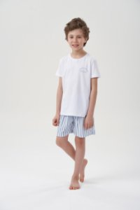 Pijama Menino Curto Listrado Branco Azul com Camiseta Branca