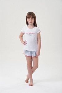 Shortdoll Infantil Manga Curta Listrado Branco Azul e detalhes vermelhos