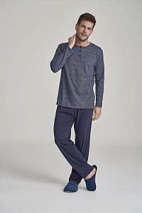 Pijama Masculino Adulto Manga Longa com Calça Azul Marinho