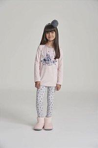 Pijama Menina Manga Longa Rosa Moletinho com felpa (Pelo Sintético) e legging