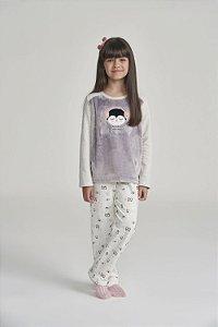 Pijama Menina Manga Longa Cinza Moletinho com felpa (Pelo Sintético)