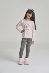 Pijama Menina e Teen Manga Longa Rosa com Legging Verde Xadrez
