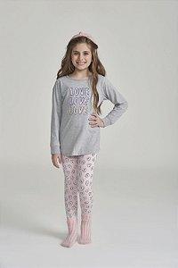 Pijama Menina e Teen Manga Longa Cinza Love com Legging Rosa