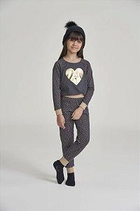 Pijama Menina e Teen Manga Longa Cinza Chumbo Coração Dourado