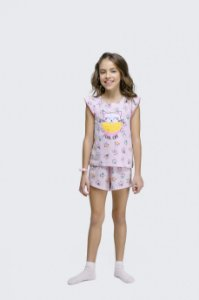 Shortdoll Infantil Manga Curta Cool Cat Rosa