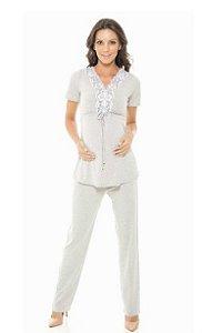 Pijama Maternidade Manga Curta com Calça em Viscose e Renda