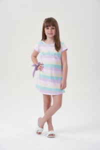 Camisola Infantil Manga Curta Listradas Candy Colors