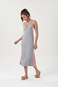 Vestido (camisola) Midi de Alça Mescla com Recorte Lateral Rosa e Off-white