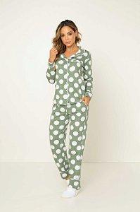 Pijama Camisaria Manga Longa com Abertura Frontal Verde Bolas