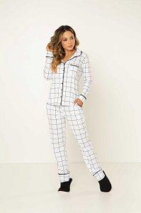 Pijama Camisaria Manga Longa com Abertura Frontal Branco Grid Preto