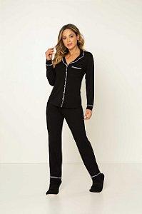 Pijama Camisaria Manga Longa com Abertura Preto em Viscolycra