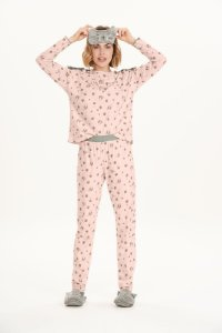 Pijama Feminino Adulto Manga Longa Rosa Mescla Gatinho