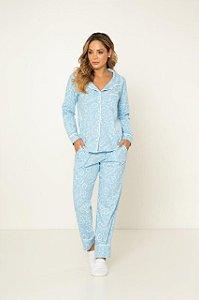 Pijama Camisaria Manga Longa com Abertura Frontal Azul Arabescos