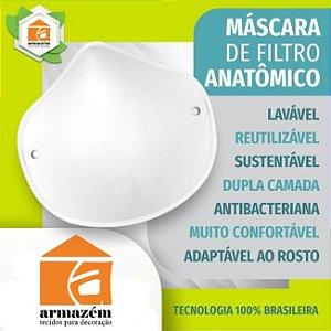 Máscara de Filtro Anatômico Branca - Kit com 10 und - Lavável e Reutilizável - atende a norma da ABNT NBR 13698 - cor: Branca (acompanha o elástico)