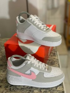TÊNIS NIKE AIR FORCE SHADOW - CINZA E ROSA