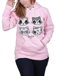 Moletom Canguru Feminino Kiss Cat Rosa