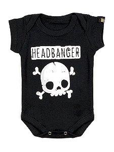 Body Bebê Rock Headbanger Preto