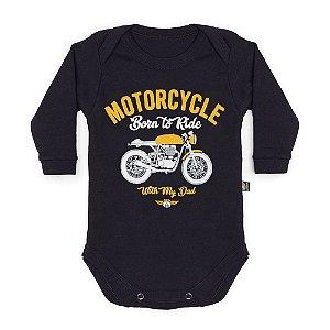 Body Bebê Manga Longa Moto Com Papai Preto