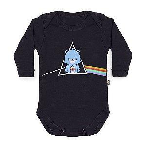 Body Bebê Manga Longa Pink Floyd Bear Side Preto