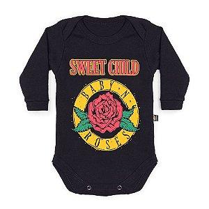 Body Bebê Manga Longa Baby N Roses Preto