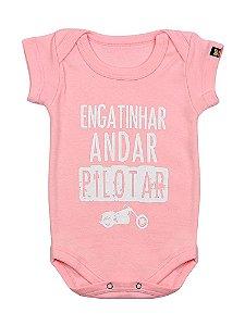 Body Bebê Moto Pilotar Rosa