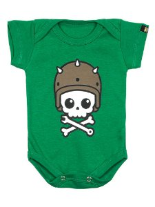 Body Bebê Caveirinha Motoqueira Verde