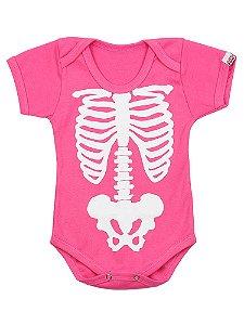 Body Bebê Esqueleto Half Face Rosa