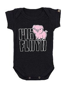 Body Bebê Pink Floyd Pig Preto
