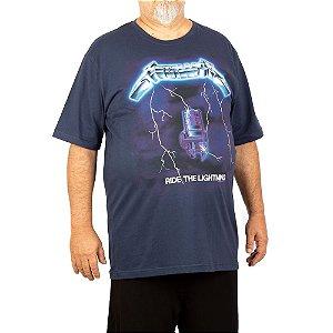 Camiseta Plus Size Metallica Ride The Lightning Marinho