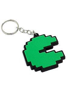 Chaveiro Pac Man Verde Emborrachado
