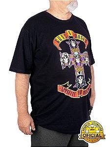 Camiseta Plus Size Guns N Roses Appetite For Destruction Preta
