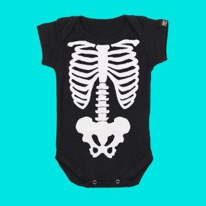 Body Bebê Esqueleto Half Face Preto