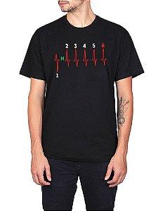 Camiseta Moto Marcha 6V Preta.