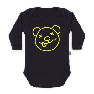 Body Bebê Manga Longa Bearvana Preto