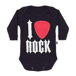 Body Bebê Manga Longa I Love Rock Preto