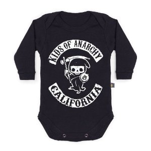Body Bebê Manga Longa Kids Of Anarchy Preto