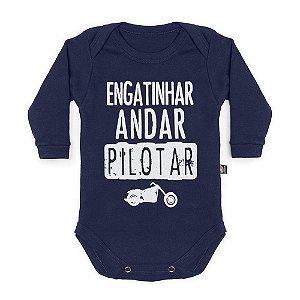 Body Bebê Manga Longa Pilotar Marinho