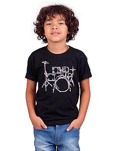 Camiseta Infantil Bateria Line Drum Preta
