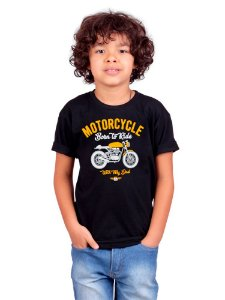 Camiseta Infantil Moto Com Papai Preta