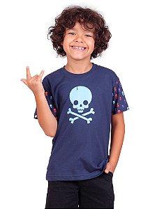 Camiseta Infantil Crack Skull Marinho