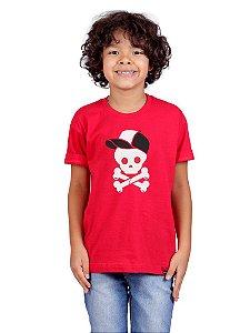 Camiseta Infantil Caveira Boné Vermelha